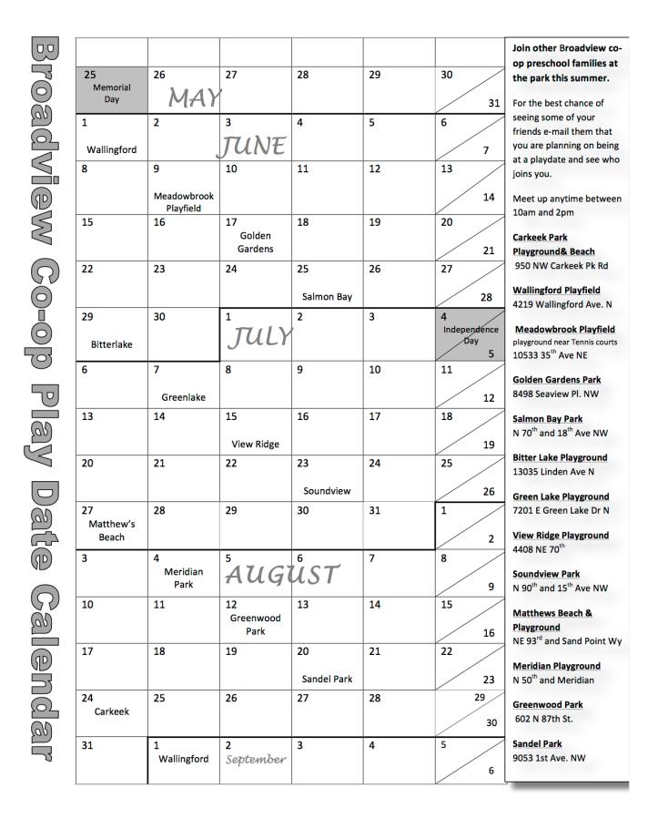 Broadview playdate calendar 2015